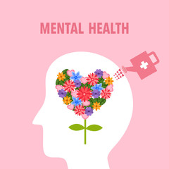 Silhouette of human head with colorful flower inside. Watering flower in the brain. Mental health concept vector illustration. Psychological therapy and treatment. World mental health day.