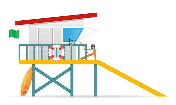 beach lifeguard tower to save drowning people vector illustration