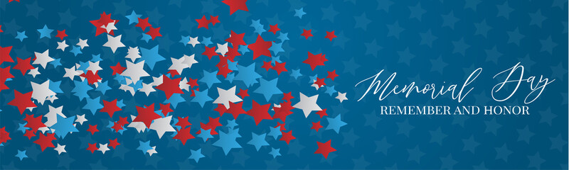 Memorial Day banner or header. Simple design. Blue, red, and white stars. Vector illustration. Fotomurales