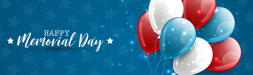 Memorial Day banner or long header. Blue, red, and white usa national colors balloons. Vector illustration. Fototapete