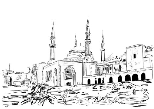 a very old mosque in the Beirut
