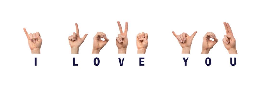 I love You Finger Spelling in American Sign Language ASL