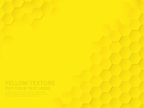 Hex texture. Yellow honeycomb geometric pattern, abstract chemistry technology science hexagonal modern paper cut origami vector wallpaper