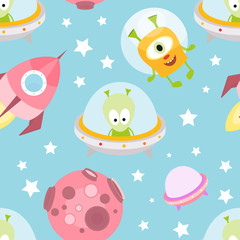Funny Monsters Seamless pattern - Cartoon Cute Aliens, Rocket, Planets. Vector Illustration. Print for Wallpaper, Baby Clothes, Wrapping Paper. Pattern does not contain gradients and clipping masks.