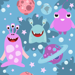 Funny Monsters Seamless pattern - Cartoon Cute Aliens and Planets. Vector Illustration. Print for Wallpaper, Baby Clothes, Wrapping Paper. Pattern don't contain gradients and clipping masks.