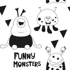 Space Seamless pattern - Cartoon Aliens. Black and White Space background. Monochrome Vector Illustration. BW Print for Wallpaper, Baby Clothes, Wrapping Paper. Text Funny Monsters.