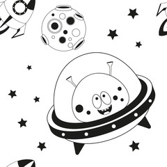 Funny Monsters Seamless pattern - Cute Aliens, UFO and Planets. Black and White Space background. Monochrome Vector Illustration. BW Print for Wallpaper, Baby Clothes, Greeting Card, Wrapping Paper.