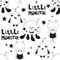 Funny Monsters Seamless pattern - Cartoon Aliens. Black and White Space background. Monochrome Vector Illustration. BW Print for Wallpaper, Baby Clothes, Greeting Card, Wrapping Paper.