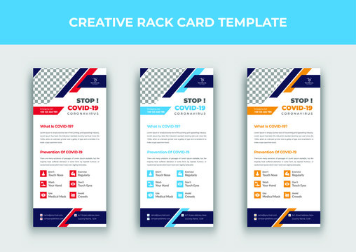 Covid 19 rack card template, Coronavirus rack card design, Dl flyer template