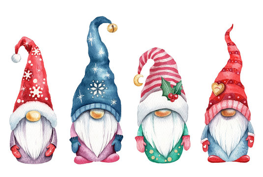 Watercolor illustration of magic gnomes on white background isolated. Cute scandinavian christmas gnomes.