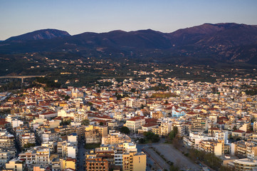 Aerial view of old town of Kalamata City, Peloponnese, Greece.