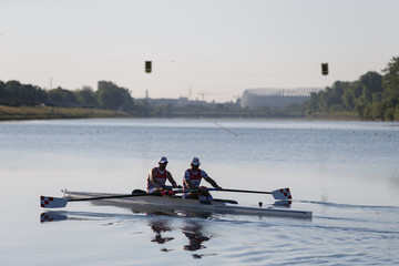 Brothers Valent and Martin Sinkovic are seen resting during the training after the relaxation of the coronavirus disease (COVID-19) restrictions, in Zagreb's lake Jarun