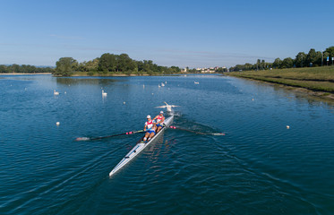 Brothers Valent and Martin Sinkovic are seen rowing during the training after the relaxation of the coronavirus disease (COVID-19) restrictions, in Zagreb's lake Jarun