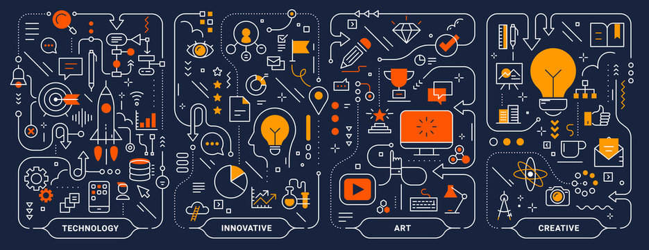 Vector creative innovate technology business process template. Set of business concept horizontal illustration on dark background.