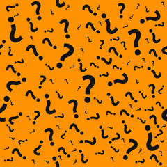 Question mark seamless pattern. Trivia poster design template, random punctuation marks background, quiz loading page, vector illustration