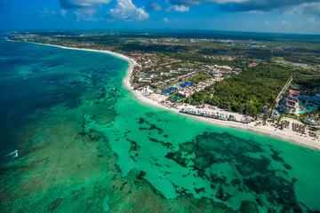 Punta Cana Bavaro beach aerial drone view  on tropical coastline in Cortecito area, Dominican republic