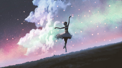 Foto auf AluDibond Grandfailure a ballerina dancing with fireflies on the hill against the night sky, digital art style, illustration painting
