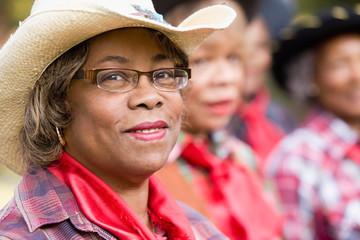 African woman wearing cowboy hat, Dallas, Texas, USA