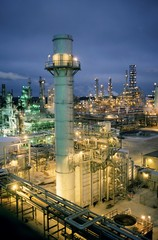 Oil Refinery lit up at night, Texas, USA