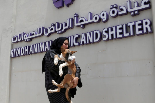 A Saudi woman carries her dog while heading to Riyadh's animal shelter, dedicated to caring for animals amid fear that cats and dogs might contract or transmit the coronavirus disease (COVID-19), Riyadh