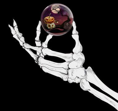 Skeleton hand holding a Halloween orb
