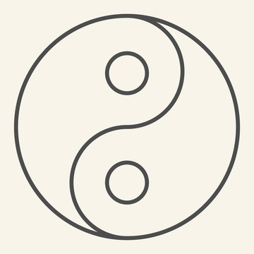 Yin Yang thin line icon. Harmony and balance symbol, outline style pictogram on beige background. Yin-yang Buddhism philosophy sign for mobile concept and web design. Vector graphics.