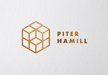 Realistic Press and Copper Foil Logo and Text  Effect Mockup