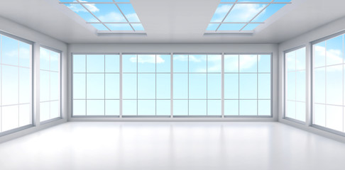 Empty office with large windows on ceiling and floor. Room interior in white colors. Internal structure of modern city architecture, inner design project visualization Realistic 3d vector illustration