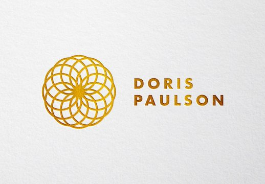 Realistic Press and Gold Foil Logo and Text Effect Mockup