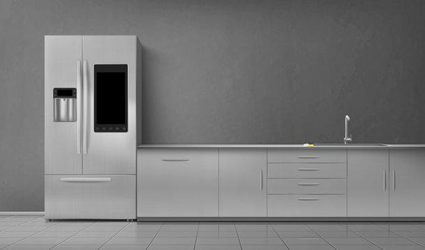 Kitchen interior with smart fridge and sink on tabletop front view. Empty room with household appliances, refrigerator and desk on gray wall and tiled floor. Modern design, realistic 3d vector mockup