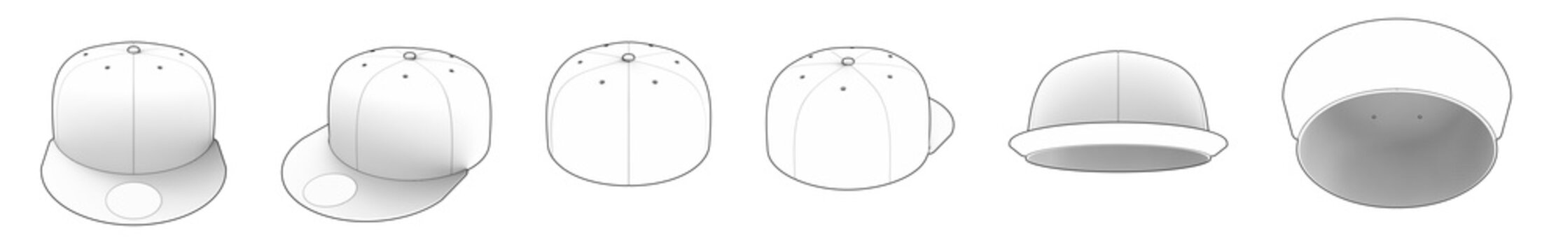 Set of Various Angles of White Empty New Era SnapBack Hats Isolated on a White Background. Drawing Style 3D MockUp.