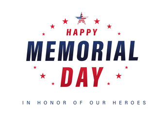Happy Memorial Day USA lettering poster with text & stars. Typography Memorial Day background with american flag colors. Vector illustration Fotomurales