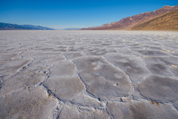 Badwater Basin crust of hexagonal shapes, Death Valley