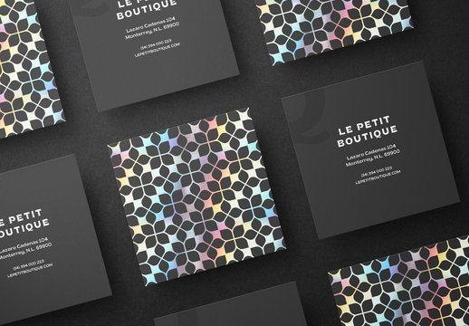 Square Business Cards Mockup Scene with Holographic and Foil Effects