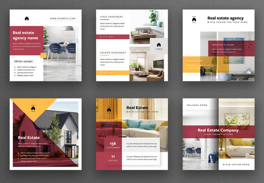 Real Estate Social Media Post Layout Set with Red and Yellow Accents