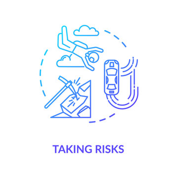 Taking risks concept icon. Extreme recreational sport, personal growth idea thin line illustration. Search for excitement, adrenaline rush. Vector isolated outline RGB color drawing
