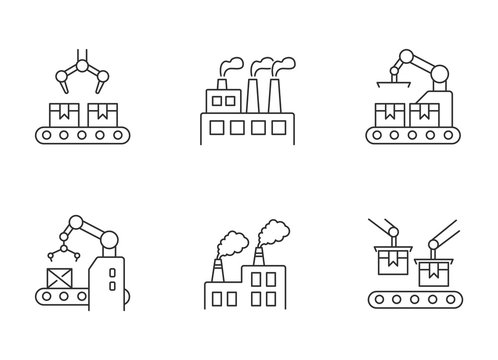 Factory production pixel perfect linear icons set. Plant conveyor belt with boxes. Merchandise package. Customizable thin line contour symbols. Isolated vector outline illustrations. Editable stroke
