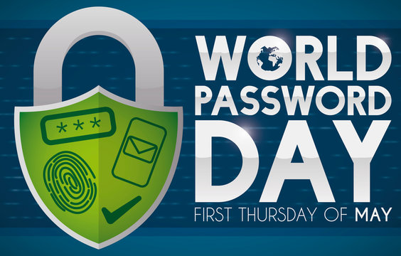 Shield Shaped Padlock with Secure Validation Methods promoting World Password Day, Vector Illustration