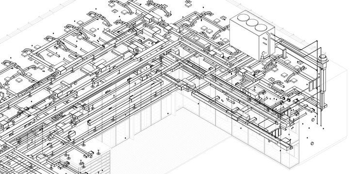 architectural isometric blueprint of  HVAC system in BIM