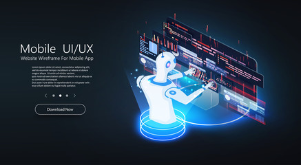 Artificial intelligence provide access to information, education and data in online networks. Chatbot technology, isometric concept vector illustration. Robot head neuronet or ai technology background