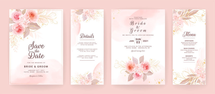 Elegant wedding invitation card template set with watercolor and floral decoration. Flowers background for social media stories, save the date, greeting, rsvp, thank you