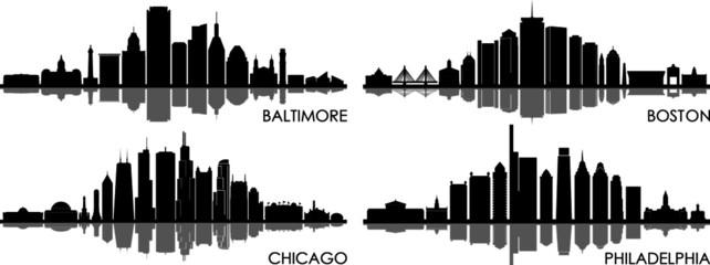 Fototapete - BALTIMORE CHICAGO BOSTON PHILADELPHIA City Skyline Silhouette Cityscape Vector