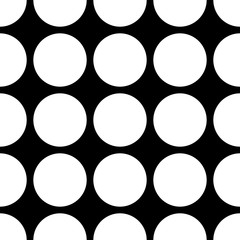 Seamless vector dark pattern with big white dots on black background