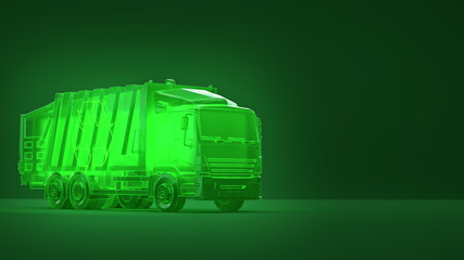 translucent glowing green dump trash truck with recycle symbol on green background. concept of ecology dump operations recycle eco friendly environment 3d render.