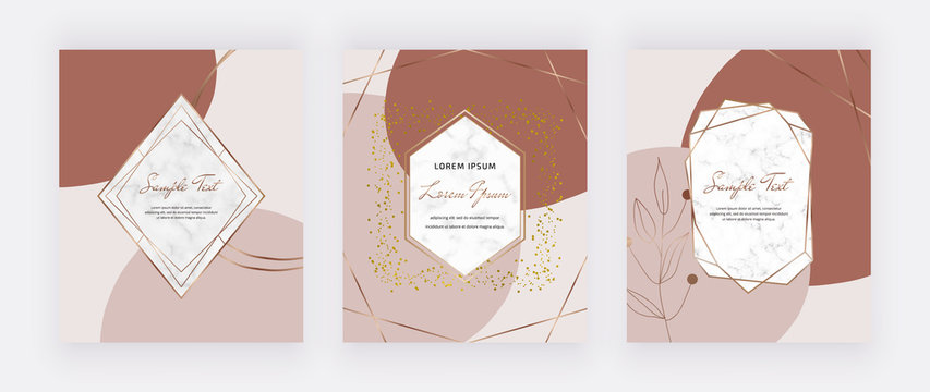 Mid century cards with marble frames and nude with brown shapes. Trendy templates for wedding invitation, greeting, banner, flyer, poster, save the date