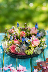 Spring blossom wreath with roses
