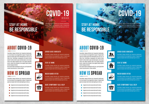 COVID-19 Flyer Layout with Red and Blue Accents