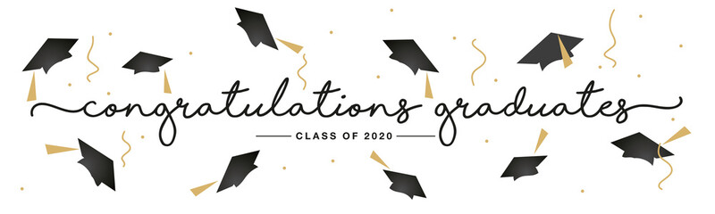 Class of 2020 Congratulations graduates handwritten typography lettering text line design gold black white isolated background banner