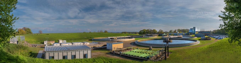 Panorama of sewage treatment plant at Bülk, Strande, Kiel, Schleswig-Holstein, Germany