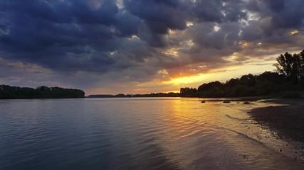 Fototapete - Beautiful morning river landscape at dawn, timelapse 4k